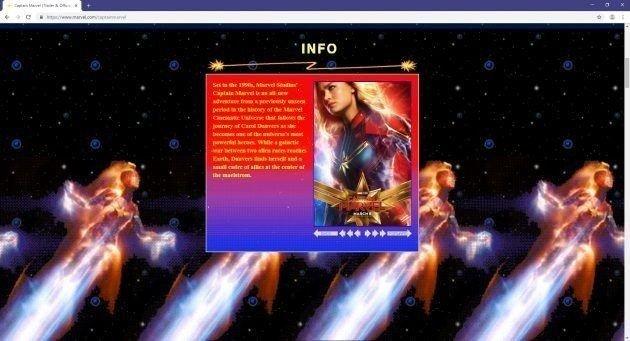 Marvel відкрила сайт «Капітана Марвела» з дизайном дев'яностих