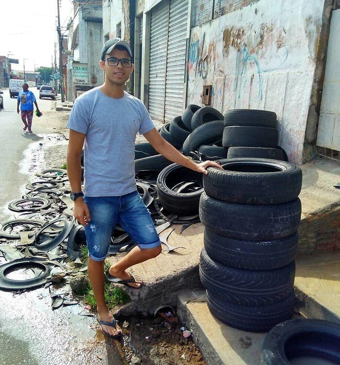 Хлопець з Бразилії перетворює старі шини в затишні лежанки для вихованців